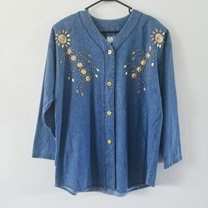 VTG 80s denim embellished button front jacket